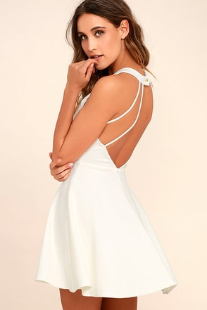 Delightful Surprise Ivory Skater Dress
