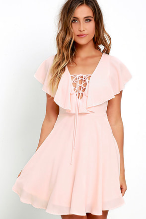 Tenderly Tangled Blush Pink Lace-Up Dress at Lulus.com!