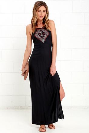 Element Eden Helix Washed Black Embroidered Maxi Dress at Lulus.com!