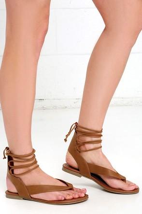Hidden Altar Cognac Lace-Up Thong Sandals at Lulus.com!