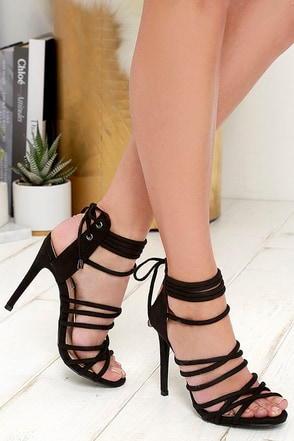 Celeb Status Black Suede Caged Heels at Lulus.com!