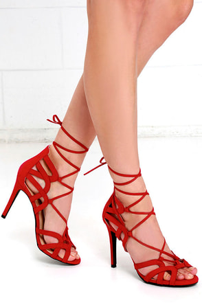 Free Rein Red Suede Lace-Up Heels at Lulus.com!