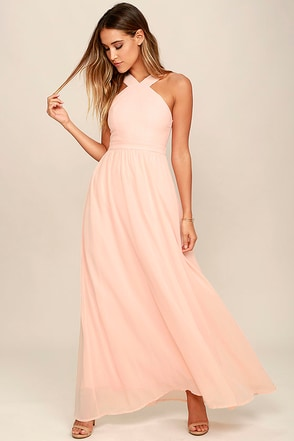Air of Romance Peach Maxi Dress 1