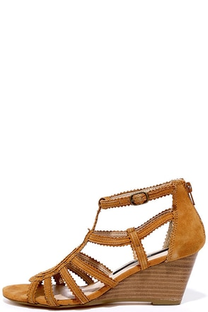 Kensie Sisha Cognac Suede Leather Wedge Sandals at Lulus.com!