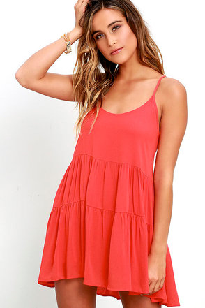Best Laced Plans Coral Red Babydoll Dress at Lulus.com!