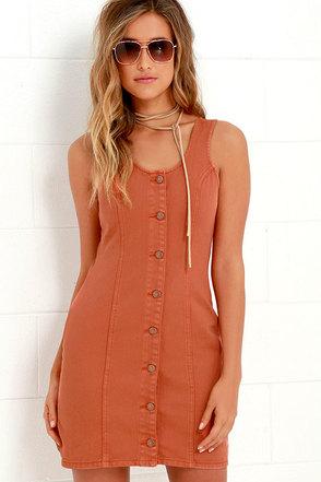 Mink Pink Wild At Heart Terra Cotta Denim Dress at Lulus.com!