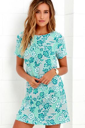 Lucy Love Charlotte Turquoise Print Shift Dress at Lulus.com!
