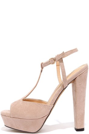 Go With the Throwback Nude T-Strap Platform Sandals at Lulus.com!