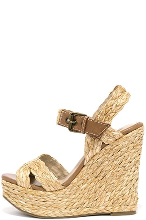 MIA Francis Natural Raffia Platform Wedges at Lulus.com!