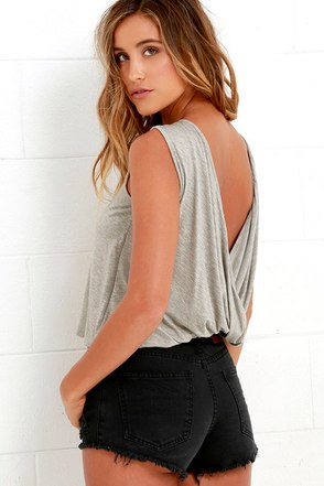 Tango Twist Heather Grey Sleeveless Top at Lulus.com!