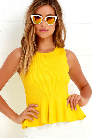 Watts Up Yellow Peplum Top at Lulus.com!