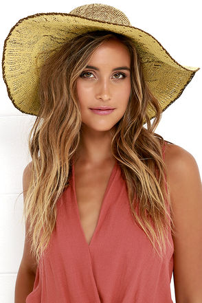 Billabong Saltwater Sunset Brown and Beige Floppy Straw Hat at Lulus.com!