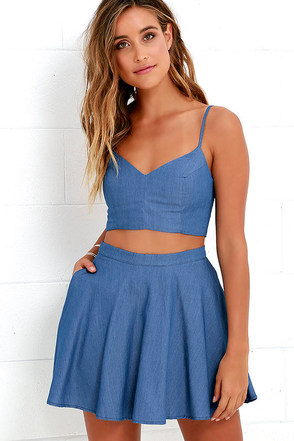 Accompany Me Blue Chambray Two-Piece Dress at Lulus.com!