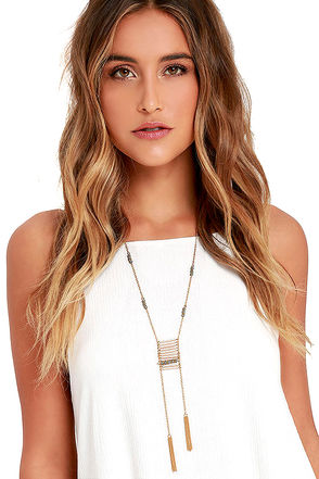 Scheme and Storyline Gold and Grey Tassel Necklace at Lulus.com!