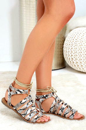 Outlying Lands Snake Print Lace-Up Flat Sandals at Lulus.com!