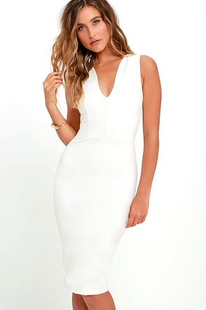 Quite Spectacular Ivory Midi Dress at Lulus.com!