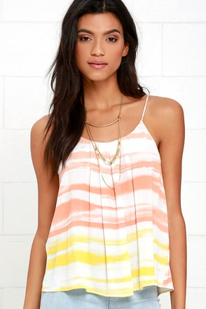 Olive & Oak On Board Yellow and Coral Orange Print Top at Lulus.com!