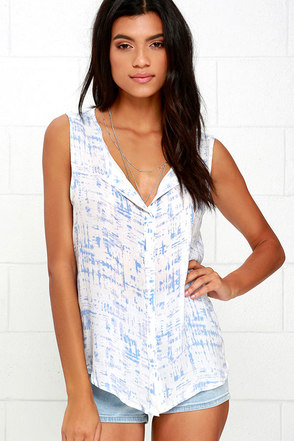 Illustrator Periwinkle Blue and Ivory Print Top at Lulus.com!
