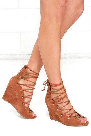 Spry Society Rust Brown Lace-Up Wedges at Lulus.com!