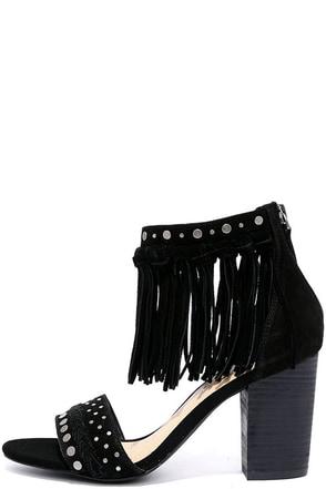 Sbicca Palooza Black Suede Leather Fringe Heels at Lulus.com!