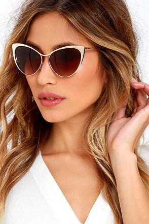 Meow Factor Gold Cat-Eye Sunglasses at Lulus.com!