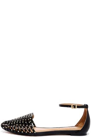 Report Samira Black Studded Flats at Lulus.com!