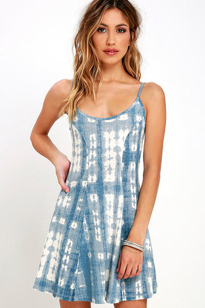 Billabong Same Dance Blue Tie-Dye Dress at Lulus.com!