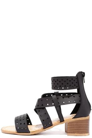 Favorite Constellation Black Cutout Heeled Sandals at Lulus.com!