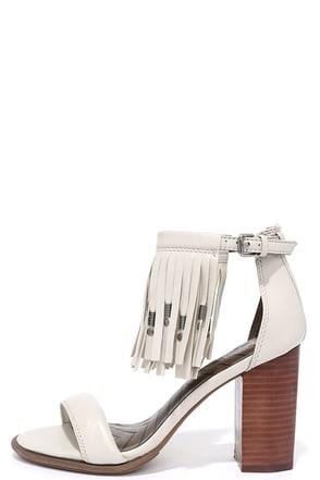 MIA Heritage Cristi Cement Grey Nappa Leather Fringe Heels at Lulus.com!
