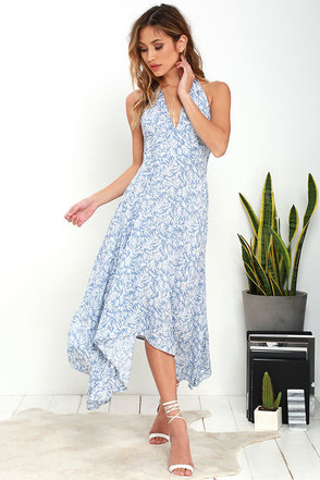 Lucy Love Dragonfly Blue Print Midi Dress at Lulus.com!