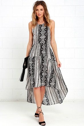 Tail of Smoke Cream and Black Print High-Low Dress at Lulus.com!