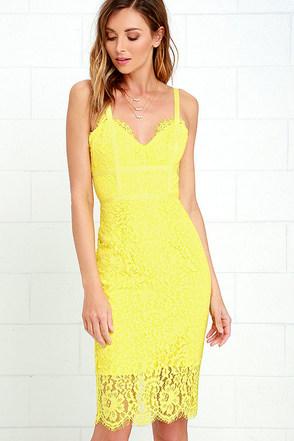 Sweet Blossom Yellow Lace Midi Dress