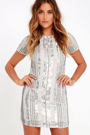 She Shall Shine Silver Sequin Shift Dress at Lulus.com!