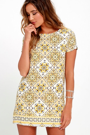 Dandy Lion Yellow Print Shift Dress at Lulus.com!