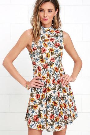 Mine all Mine Beige Floral Print Dress at Lulus.com!