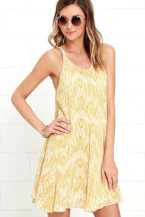 O'Neill Sia Yellow Print Swing Dress at Lulus.com!