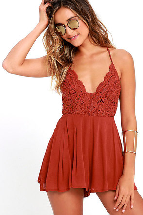 Star Spangled Rust Red Backless Lace Romper 1