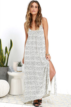 Billabong Island Wanderer Cream Print Midi Dress at Lulus.com!