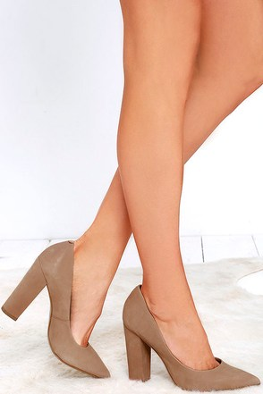 Steve Madden Primpy Camel Nubuck Leather Block Heel Pumps at Lulus.com!