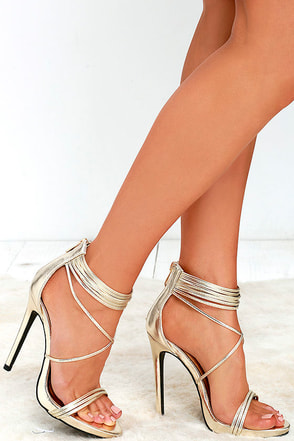 Haute and Heavy Gold Dress Sandals at Lulus.com!