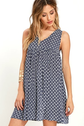 Jack by BB Dakota Mikaela Ivory and Navy Blue Print Dress at Lulus.com!