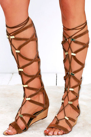 Report Monterie Tan Suede Leather Tall Gladiator Wedges at Lulus.com!