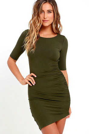 Steal Your Attention Olive Green Bodycon Dress at Lulus.com!