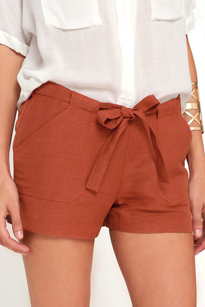 Weekend Hobby Rust Red Shorts at Lulus.com!