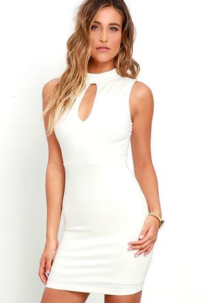 Talk the Mock Ivory Bodycon Dress at Lulus.com!