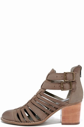 Steve Madden Frenchey Stone Leather Caged Ankle Booties at Lulus.com!
