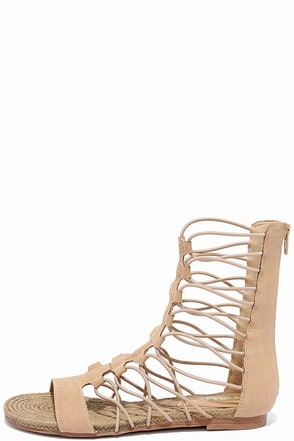 MIA Dominica Nude Nubuck Gladiator Sandals at Lulus.com!