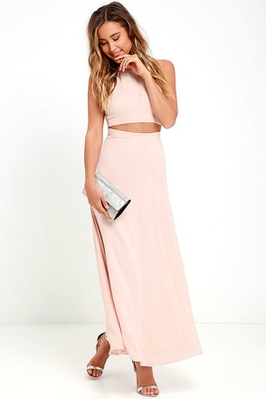 Walking on Heir Blush Pink Two-Piece Dress