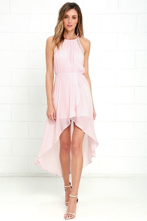 Sheer Up Blush Pink High-Low Dress at Lulus.com!