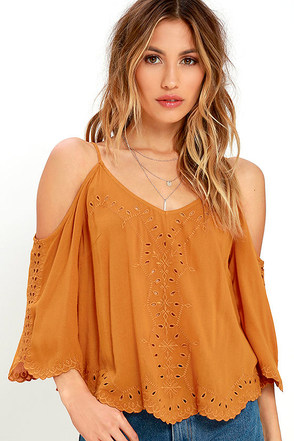 Contemporary Fairytale Burnt Orange Embroidered Top at Lulus.com!